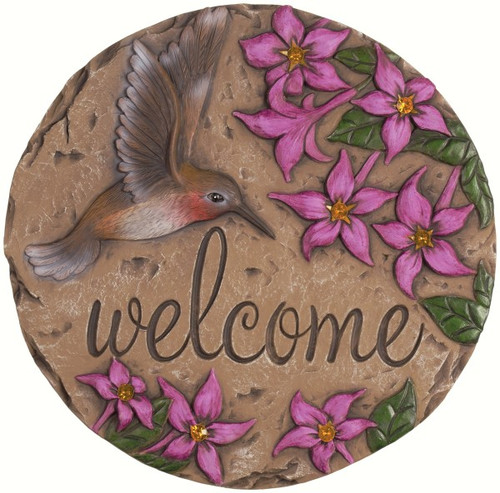 CARSON HOME ACCENTS - Decor Stepping Stone Welcome Hummingbird CHA11118 096069111184