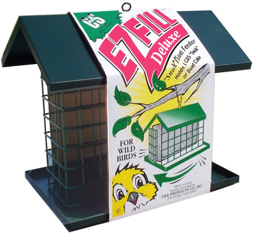 C&S PRODUCTS - Large Wire Suet Bird Feeder with Roof and Platform (CS750) 018222007509
