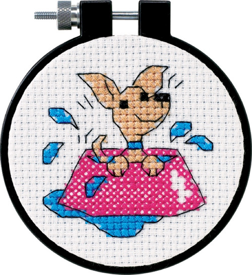 """DIMENSIONS - Learn-A-Craft Perky Puppy Counted Cross Stitch Kit-3"""" Round 11 Count (73039) 088677730390"""