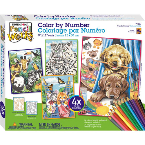 """DIMENSIONS - Pencil Works Color By Number Kit 9""""X12"""" 4/Pkg-Friendly Animals (91337) 088677913373"""