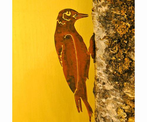 ELEGANT GARDEN DESIGN - Woodpecker Bird Silhouette Decorative Metal Ornamental Garden Statuary (ELEGANTB724) 857879004239