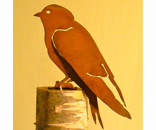 ELEGANT GARDEN DESIGN - Purple Martin 2 Bird Silhouette Decorative Metal Ornamental Garden Statuary (ELEGANTB741) 857879004406