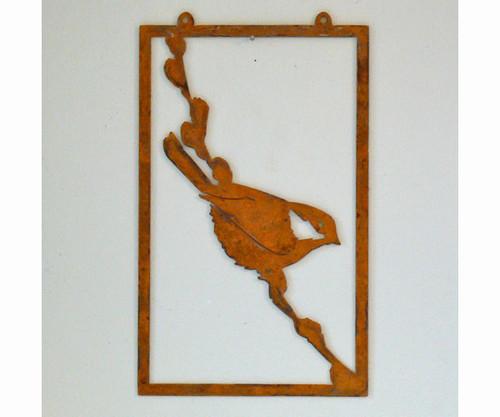 ELEGANT GARDEN DESIGN - Chickadee on Pussy Willow - Metal Garden Sculpture Decor ELEGANTW101 857879004895