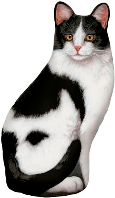 FIDDLER'S ELBOW - Black & White (Print) Weighted Cat Shaped Pillow Doorstop Weight (new design) (FE71) 788353004653