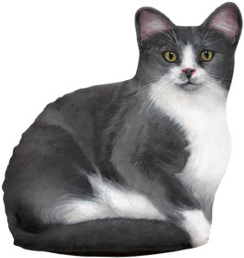 FIDDLER'S ELBOW - Grey & White Cat (Print) Weighted Cat Shaped Pillow Doorstop Weight (new design) (FE76) 788353004707