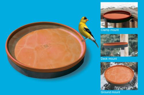 FARM INNOVATORS - 3-In-1 Heated Birdbath with Built-in Electric Deicer (75 Watt) - Terra Cotta & Black (FIBD75) 085045000611