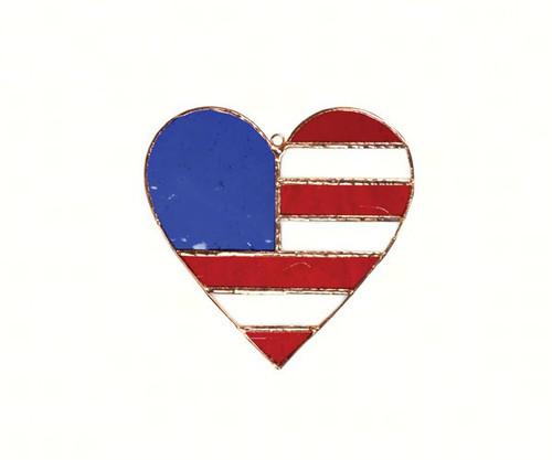 GIFT ESSENTIALS - Patriotic Flag Heart Suncatcher GE175 645194901759