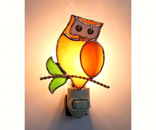 GIFT ESSENTIALS - Owl Stained Glass Nightlight GE260 645194902602
