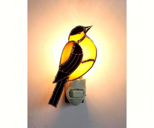 GIFT ESSENTIALS - Goldfinch Stained Glass Nightlight GE264 645194902640