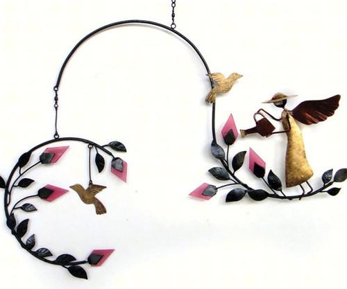 GIFT ESSENTIALS - Angel & Birds Metal/Glass Hanging Mobile GEBLUEG462 804414020568