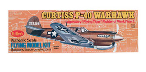 GUILLOWS - Curtiss P-40 Warhawk Balsa Wood Airplane Model Kit (501) 072365005013