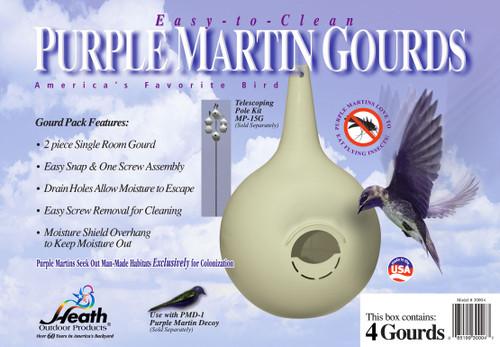 HEATH - 4-Pk. 2 Piece Easy Clean Purple Martin Gourd Starling Resistant - RH (HEATH30004) 085199300049