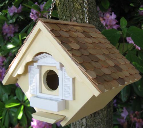HOME BAZAAR - Little Wren House - Fancy Chalet Style Birdhouse - Yellow (HOMEHB2044Y) 812673010381