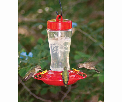 HOMESTEAD - Etched Glass HummingBird Feeder 12 oz HS3910 841346139104