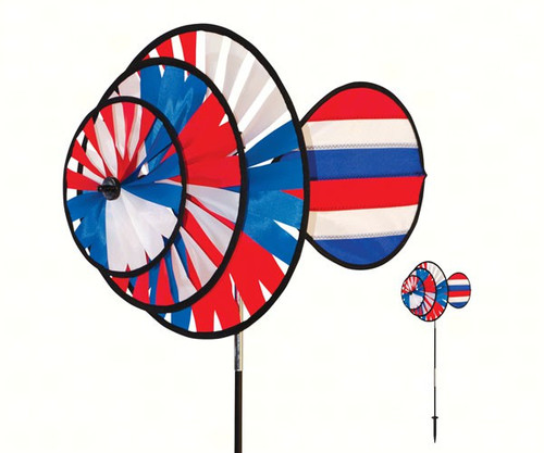 IN THE BREEZE - Small Patriotic 4th Triple Wheel Wind Spinner Stake with Sail ITB2765 762379027650