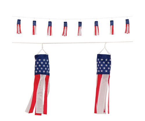 IN THE BREEZE - Stars and Stripes String of Baby US Flag Windsocks ITB5013 762379050139