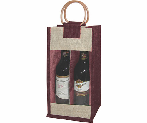 BELLA VITA - J2 Burgundy - Jute Two Bottle Bags (J2BURGUNDY) 822372172044
