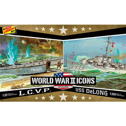 LINDBERG - 1/32 - 1/300 Scale American Icons of WWII L.C.V.P. & USS DeLong Plastic Model Ship Kit (2 pack) (440) 849398009840