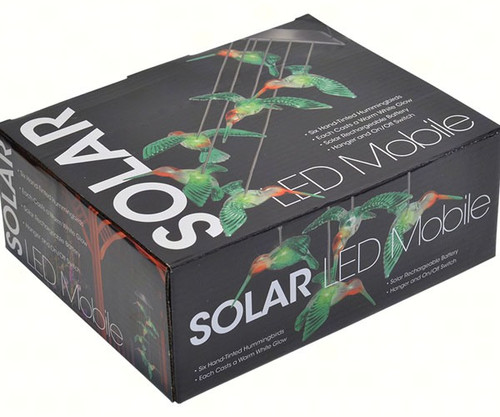MARK FELDSTEIN - Solar LED Illuminated Painted Hummingbird Hanging Mobile MFHBPTDMOB 789683047945
