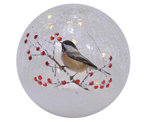 MARK FELDSTEIN - Crackle Glass 6 inch Globe Chickadee Solo MFYB6CS 789683058828
