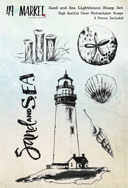 "49 AND MARKET - 49 & Market Clear Stamps 4""X6""-Sand & Sea Lighthouse (SS86639) 014567986639"