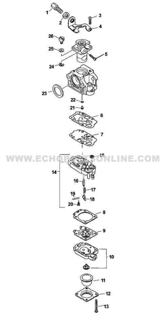 Parts Lookup Echo SRM 2601 Carburetor 12300057732 Diagram