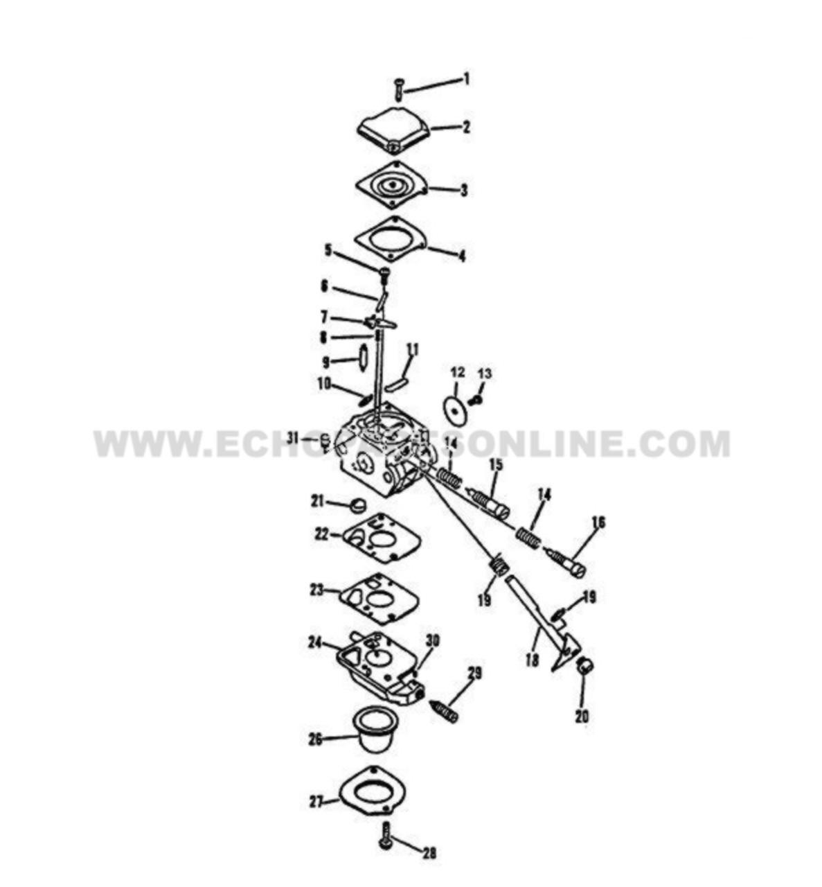 Parts lookup Echo GT 2400 Carburetor 12520013317 Diagram