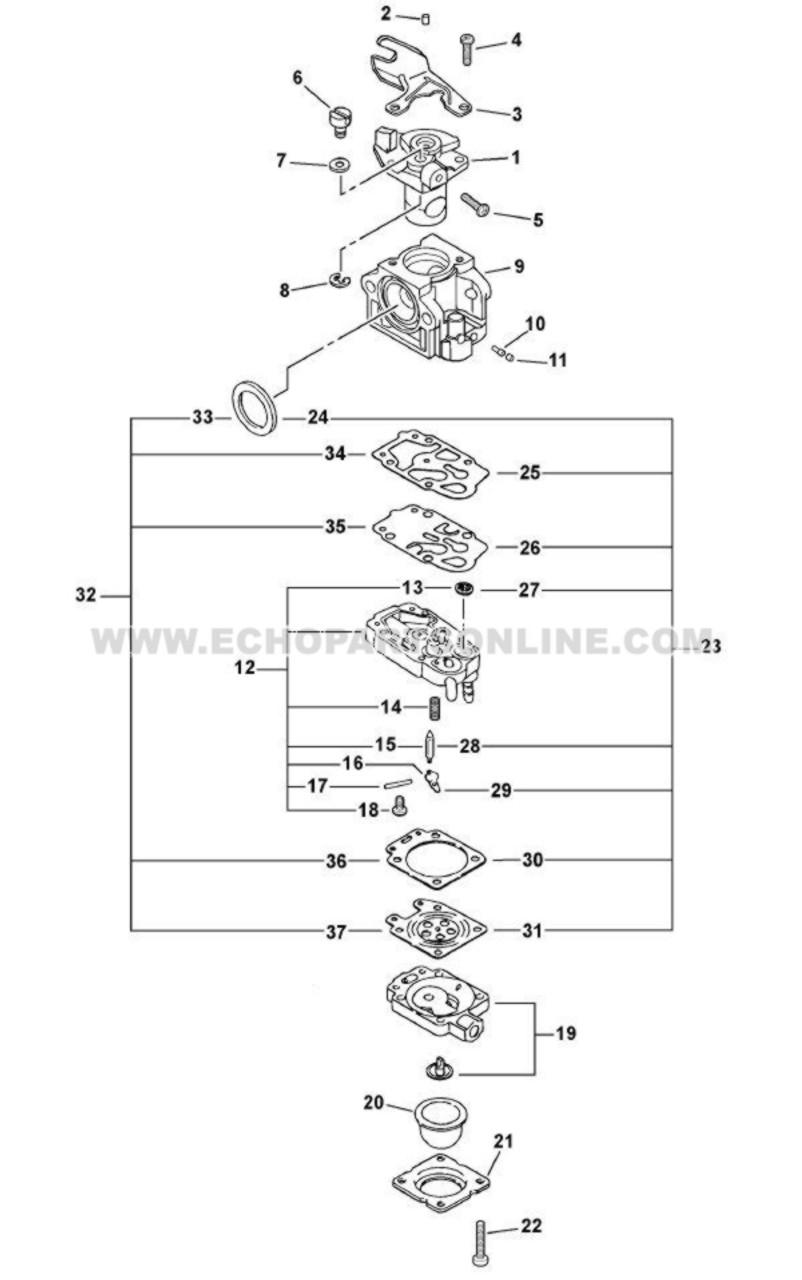 Parts Lookup Echo SRM 261T Carburetor A021000700 OEM Diagram