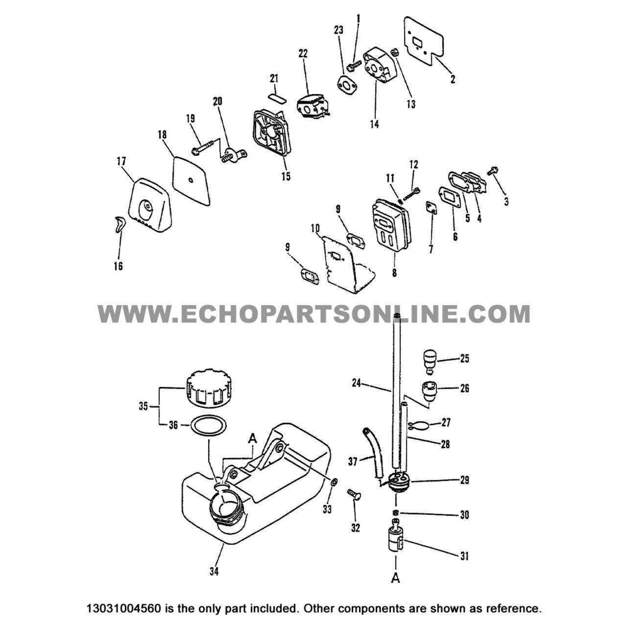 Parts lookup Echo SRM 2400 Air Filter 13031004560 OEM diagram