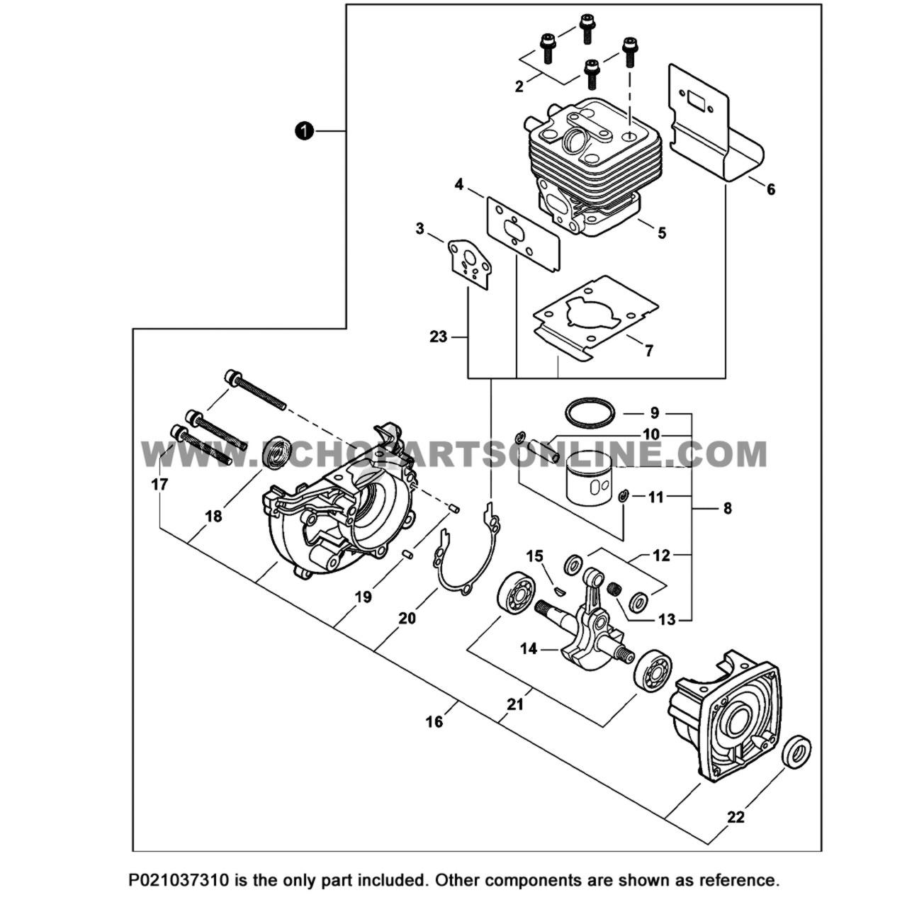 Parts lookup Echo SRM 266 Piston P021037310 OEM diagram