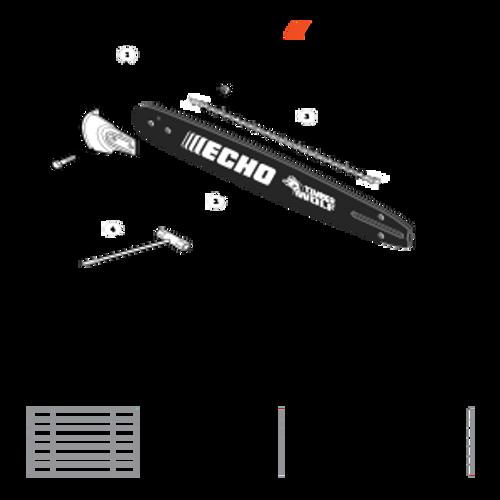 CS-590 SN: C25812001001-C25812999999 - Guide Bar, Sawing Chain, Kick Guard Parts lookup
