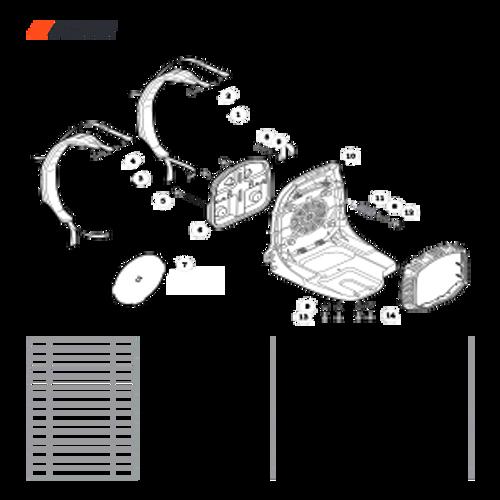 PB-580T Backpack SN: P48414001001-P48414999999 - Harness, Backpack Frame, Debris Guard Parts lookup
