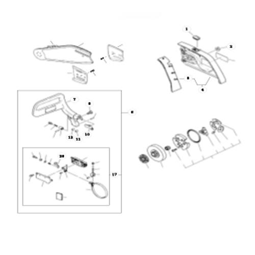QV-8000 Type 1E SN: C90303001001 - C90303999999 - Cutting Attachment, Chain Brake Parts lookup