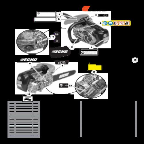 CS-330MX4 SN C04312001001 - C04312999999 - Labels Parts lookup