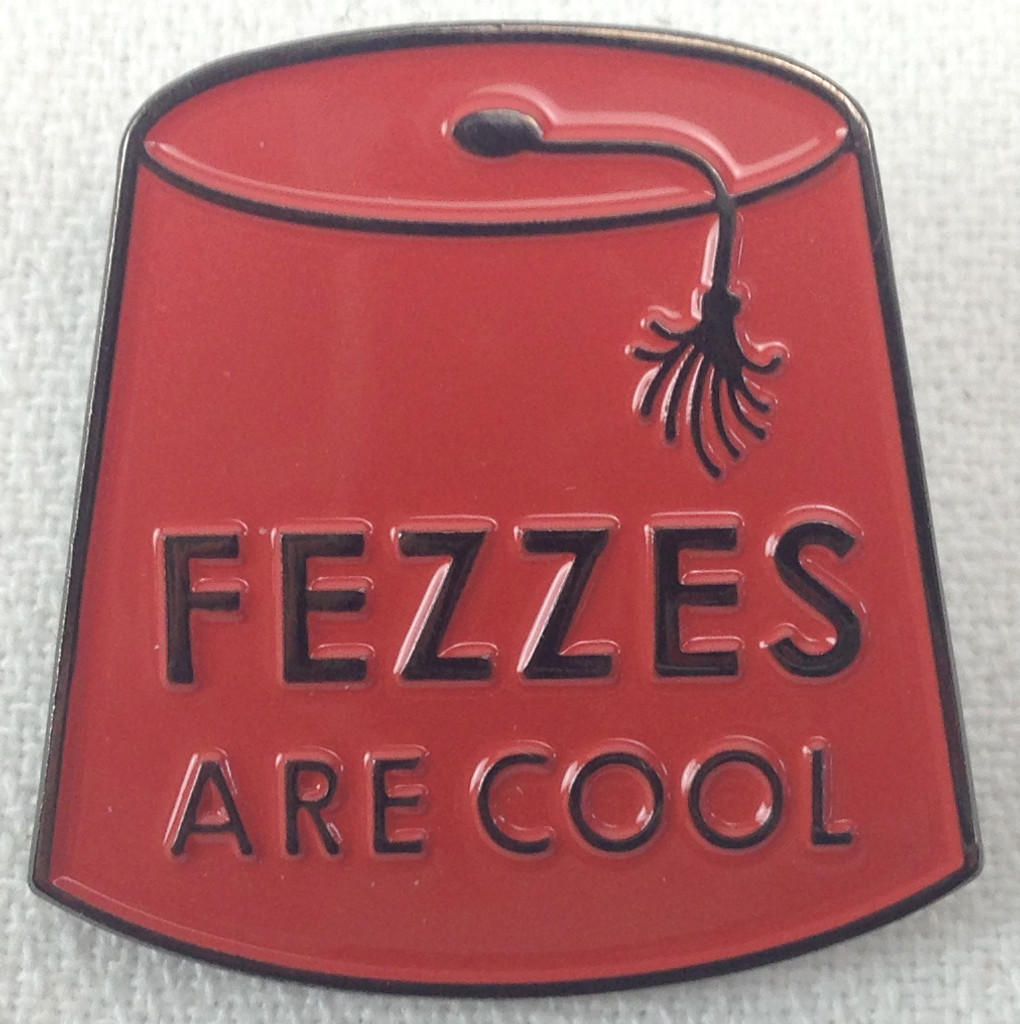 11th Doctor - FEZZES ARE COOL - New Doctor Who TV Series Themed - Enamel Lapel Pin