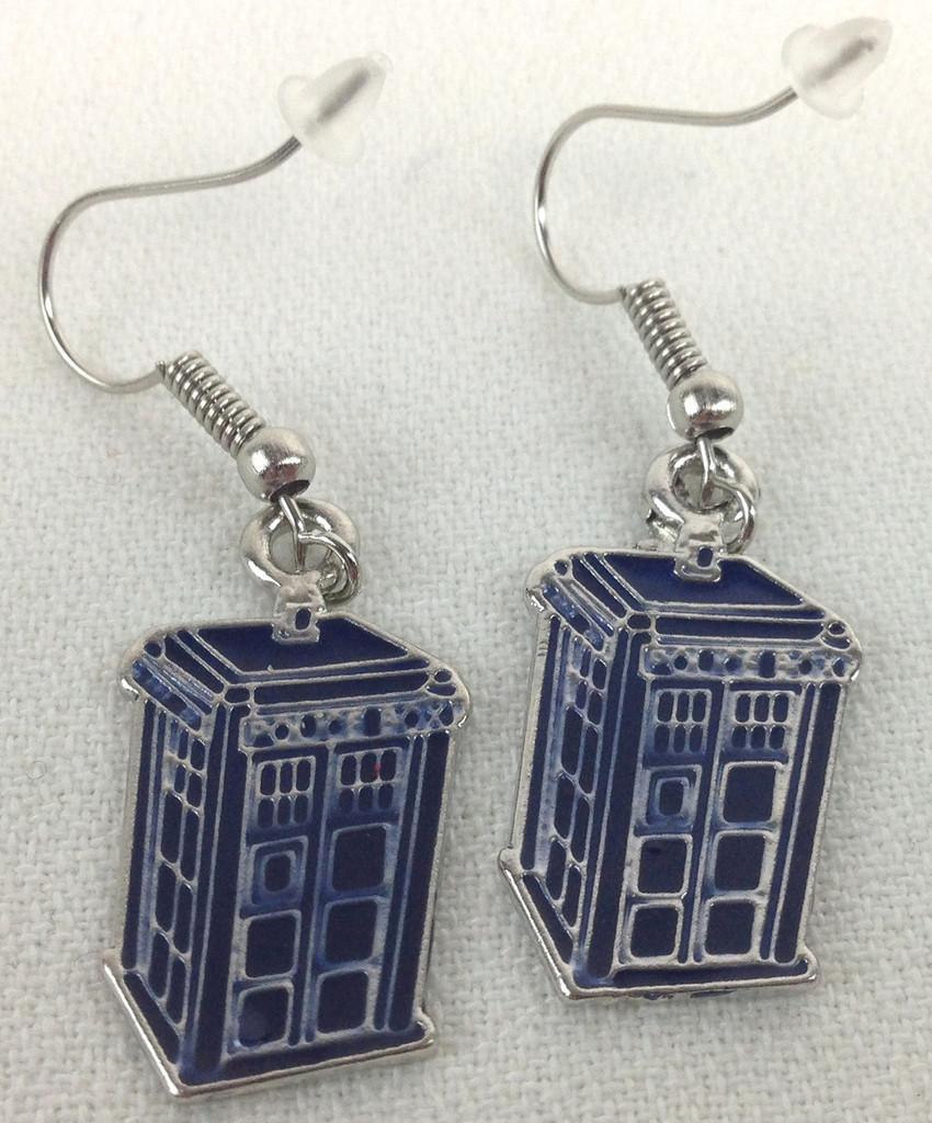Tardis Metal Dangle Earrings