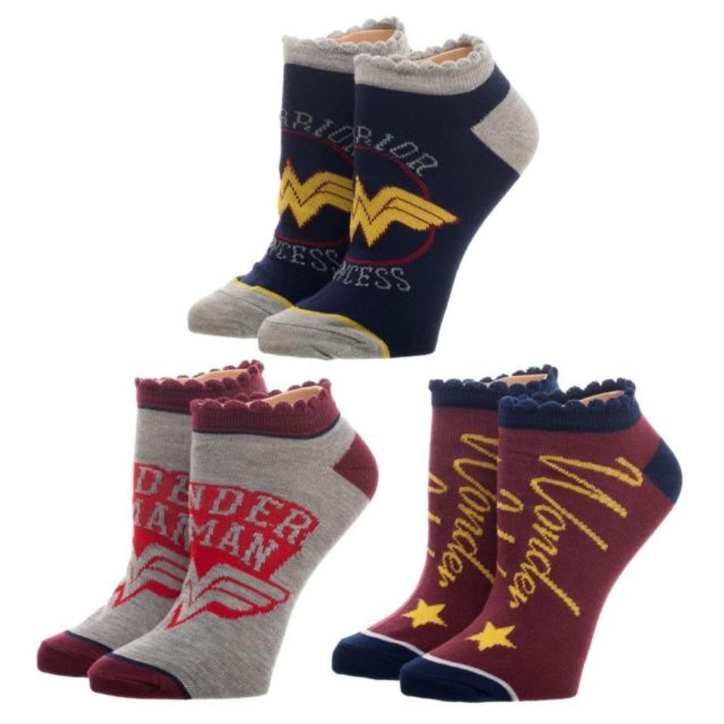 DC Comics Wonder Woman 3-Pack Ankle Socks
