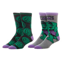 Marvel Comics The Hulk 2 Pack Crew Socks