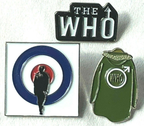 THE WHO Rock Band Lapel Pin Set of 3 (DALTREY - TOWNSHEND - ENTWISTLE - MOON)