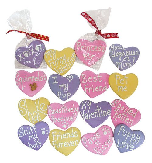 Valentine's Hearts - Six Large Hearts in various sayings