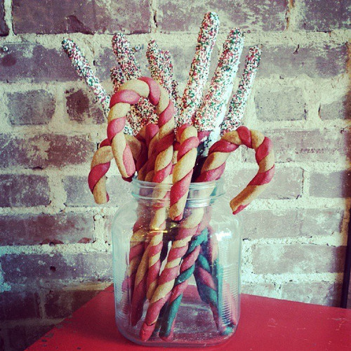 Candy cane MixStix in a cookie jar with our Xmas MixStix also available on line.