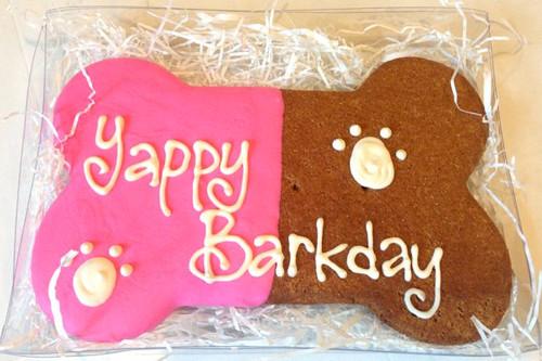 Yappy Barkday Bone Cookie Pink