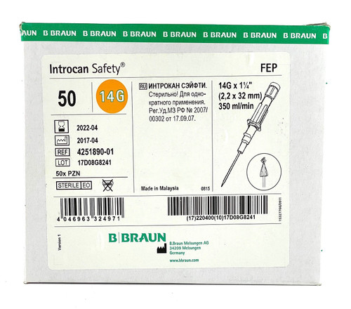B. BRAUN Introcan Safety IV Catheter Teflon 14G X 1.25'' Straight 50pcs/box