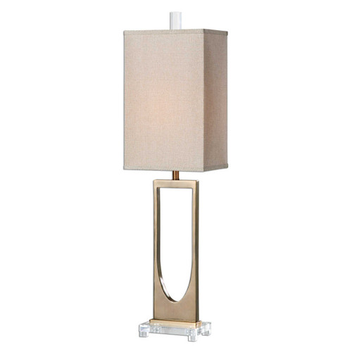 Brushed brass plated metal accented with crystal details. The tall rectangle hardback shade is a rust beige linen fabric.