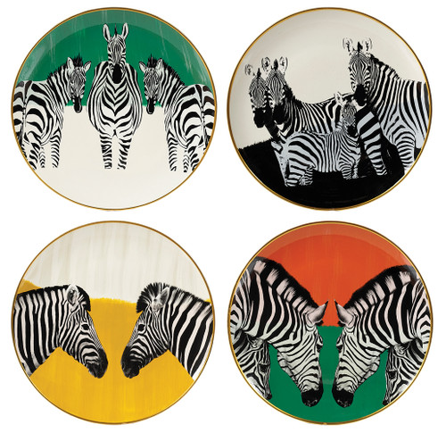 Zebra Plates Set / 4 (MY078)