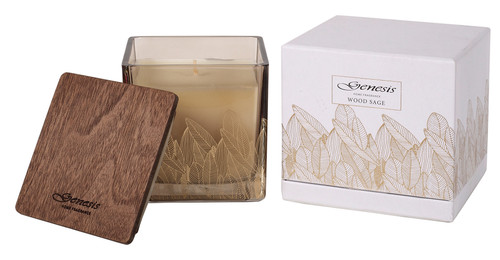 WOOD SAGE SQUARE MEDIUM CANDLE - GEN009