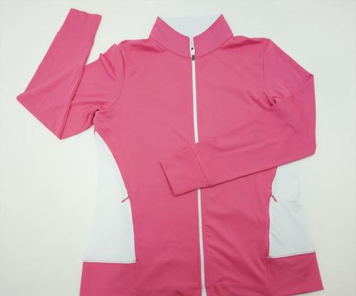 New  FootJoy Golf Midlayer Jacket Womens Size Medium  Hot Pink/White  256B