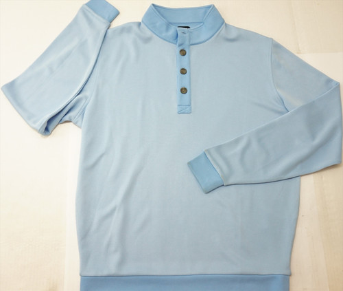 New Footjoy Birdseye Double Layer Button Pullover Size Large Sky 319B 784812
