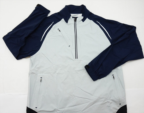 New Footjoy Golf Dryjoys Pullover Mens Size Large White/Navy Regular 326A 787579