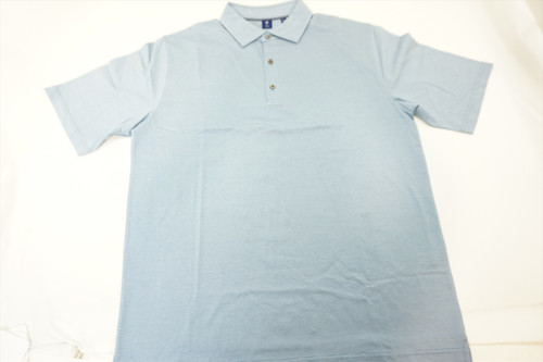 New FootJoy Golf Lisle Space Dyed Self Collar Polo Mens Large Sky 376A 00813950
